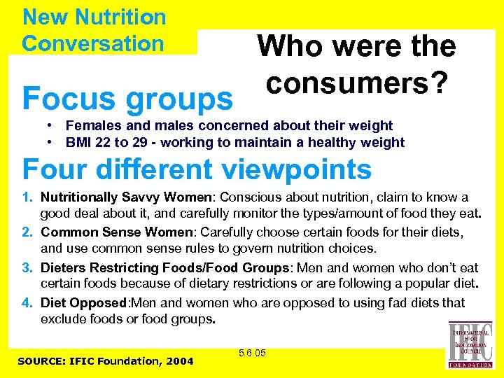 New Nutrition Conversation Focus groups Who were the consumers? • Females and males concerned