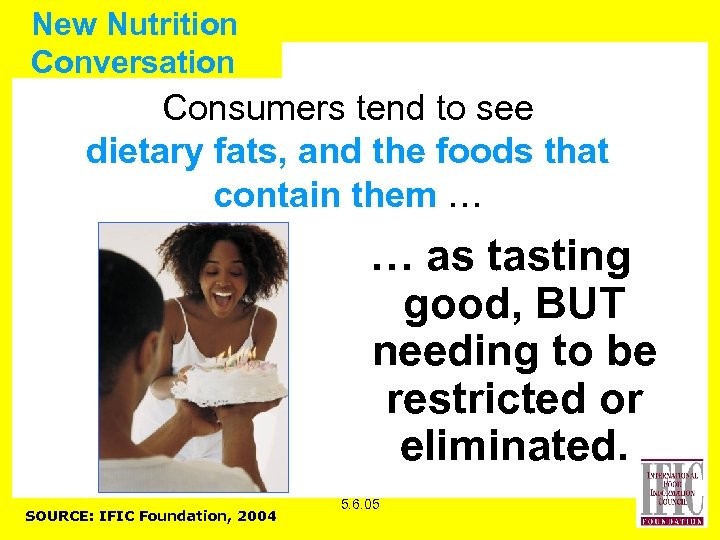 New Nutrition Conversation Consumers tend to see dietary fats, and the foods that contain