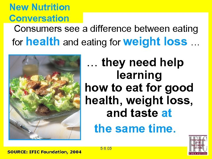 New Nutrition Conversation Consumers see a difference between eating for health and eating for