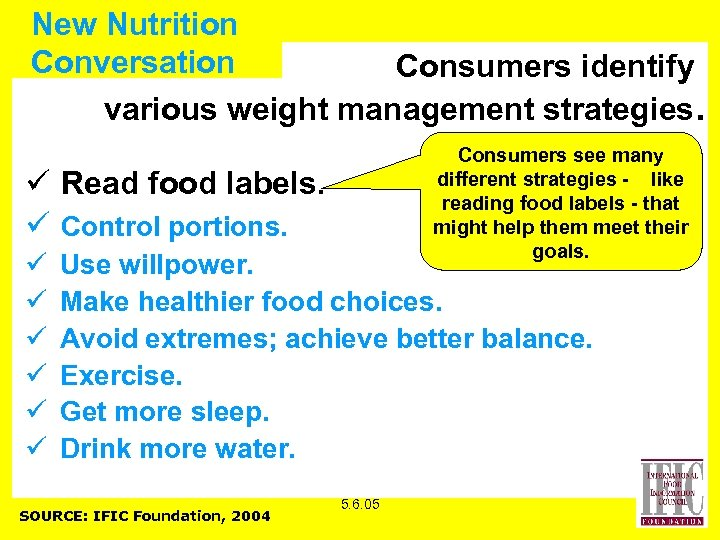 New Nutrition Conversation Consumers identify various weight management strategies. Consumers see many different strategies