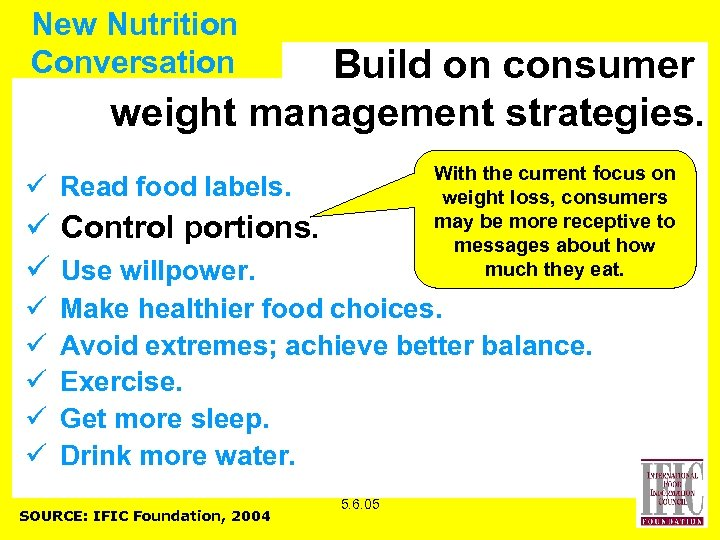 New Nutrition Conversation Build on consumer weight management strategies. With the current focus on