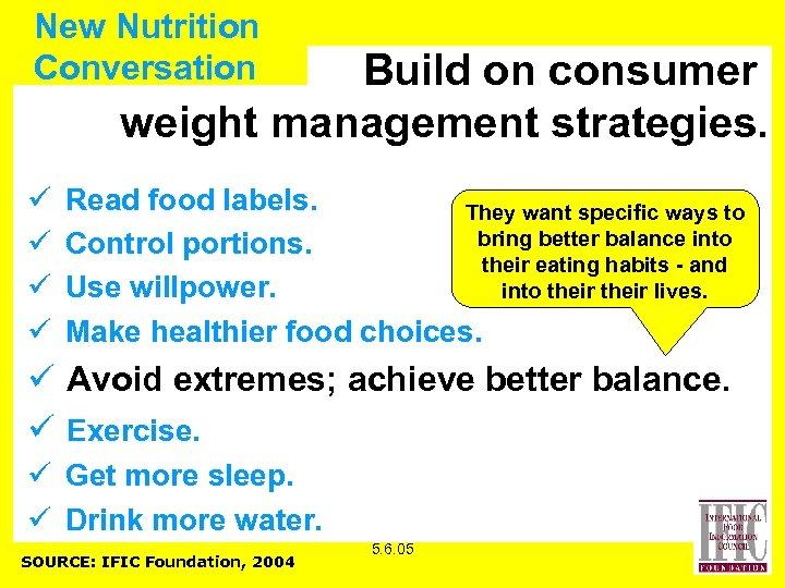 New Nutrition Conversation Build on consumer weight management strategies. ü ü Read food labels.