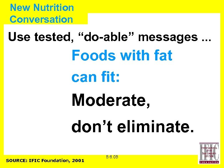 """New Nutrition Conversation Use tested, """"do-able"""" messages. . . Foods with fat can fit:"""