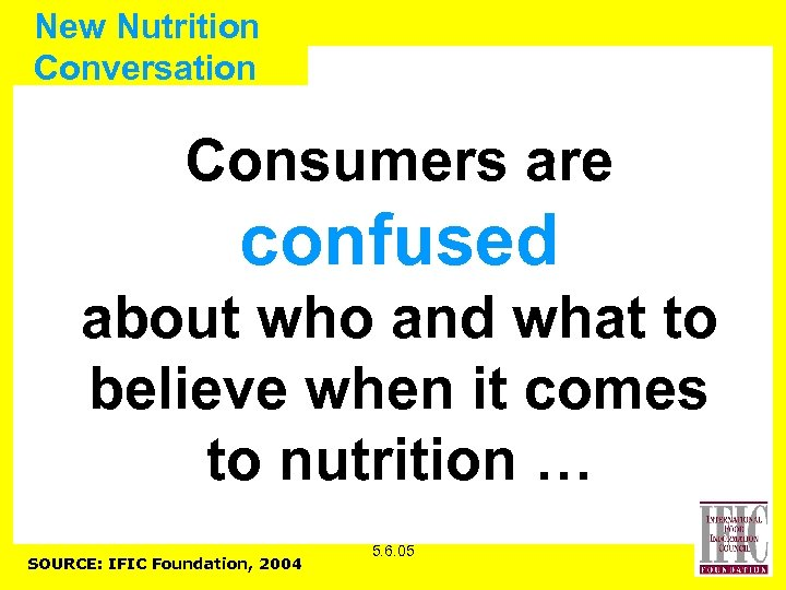 New Nutrition Conversation Consumers are confused about who and what to believe when it
