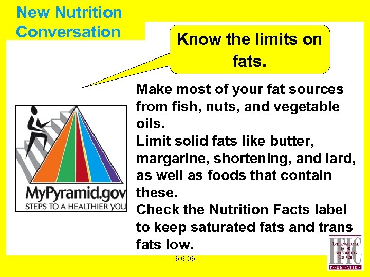 New Nutrition Conversation Know the limits on fats. Make most of your fat sources