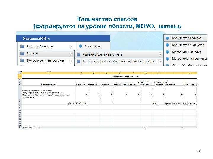 Количество классов (формируется на уровне области, МОУО, школы) 18