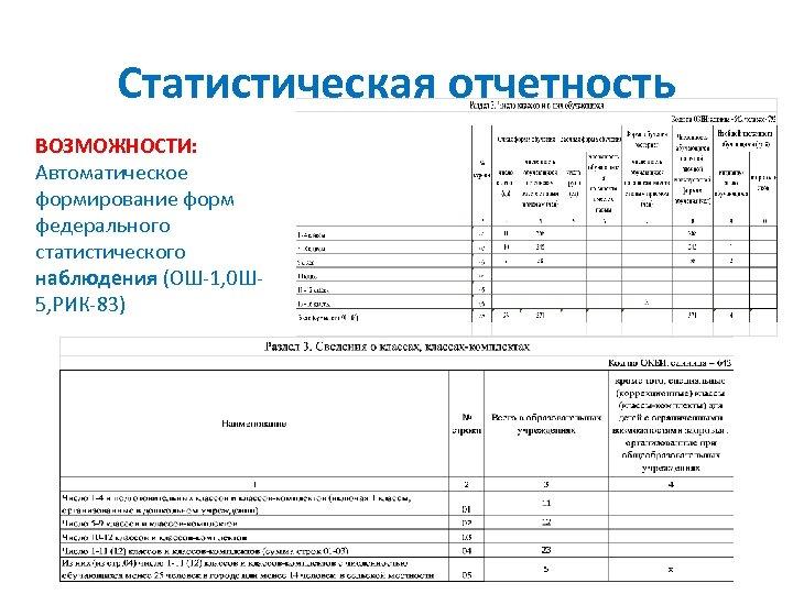 Статистическая отчетность ВОЗМОЖНОСТИ: Автоматическое формирование форм федерального статистического наблюдения (ОШ-1, 0 Ш 5, РИК-83)