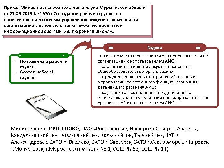 Приказ Министерства образования и науки Мурманской области от 21. 09. 2015 № 1670 «О
