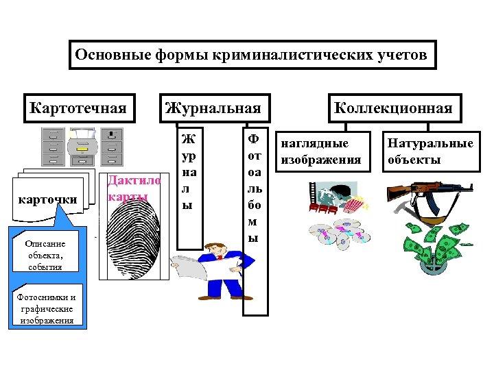 Основные формы криминалистических учетов Картотечная карточки Описание объекта, события Фотоснимки и графические изображения Дактило
