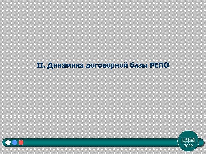 II. Динамика договорной базы РЕПО 2009