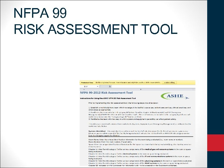 NFPA 99 RISK ASSESSMENT TOOL
