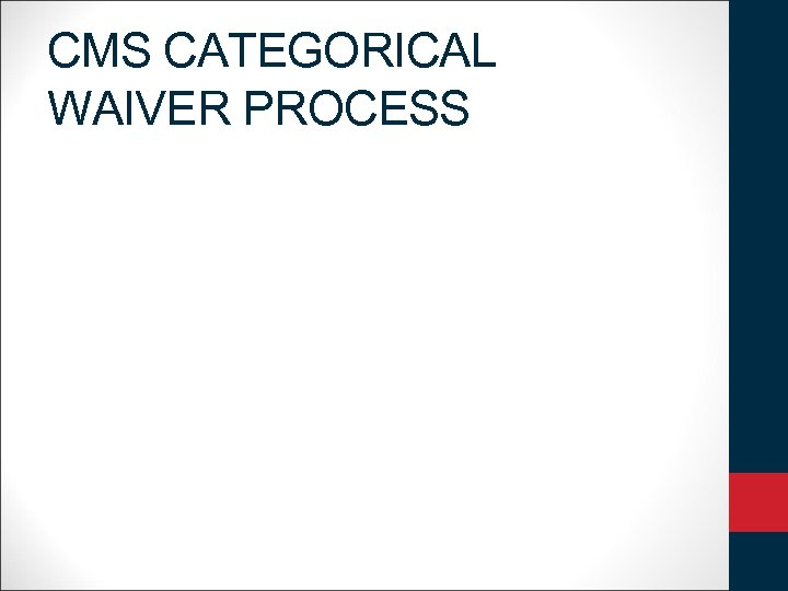 CMS CATEGORICAL WAIVER PROCESS