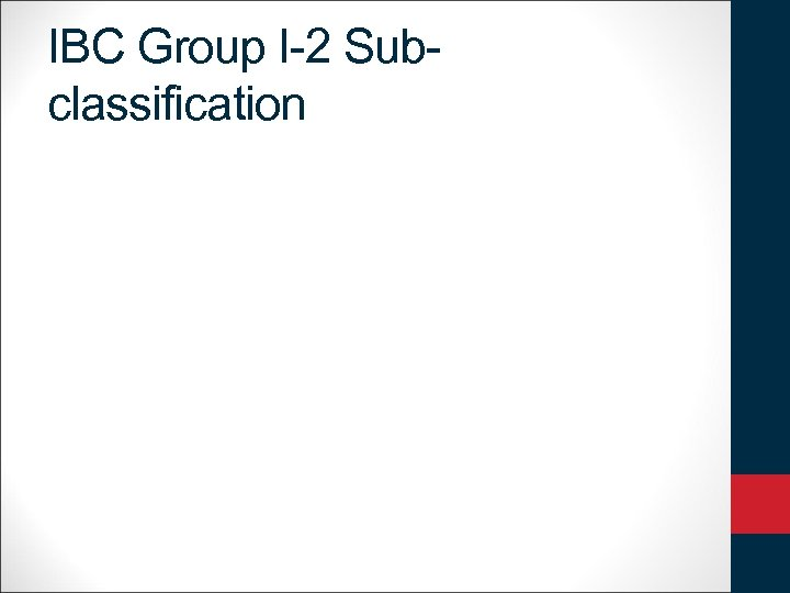 IBC Group I-2 Subclassification