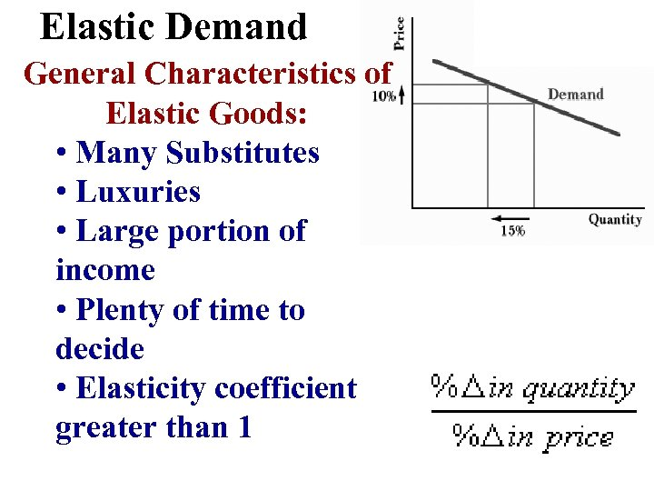 Elastic Demand General Characteristics of Elastic Goods: • Many Substitutes • Luxuries • Large