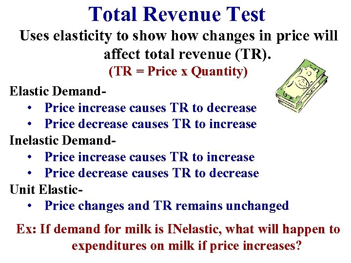 Total Revenue Test Uses elasticity to show changes in price will affect total revenue