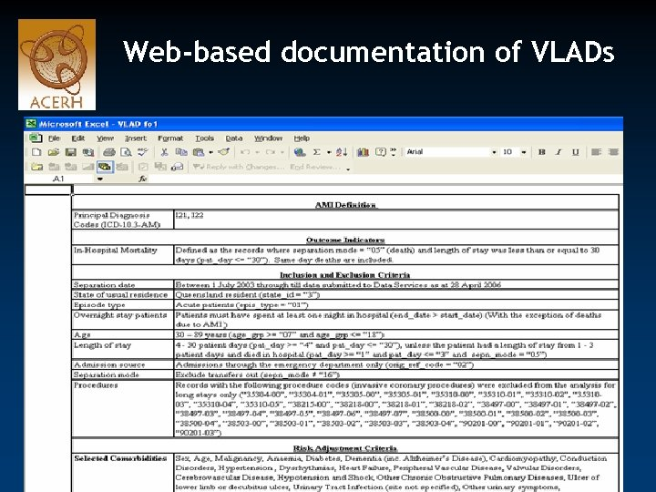 Web-based documentation of VLADs