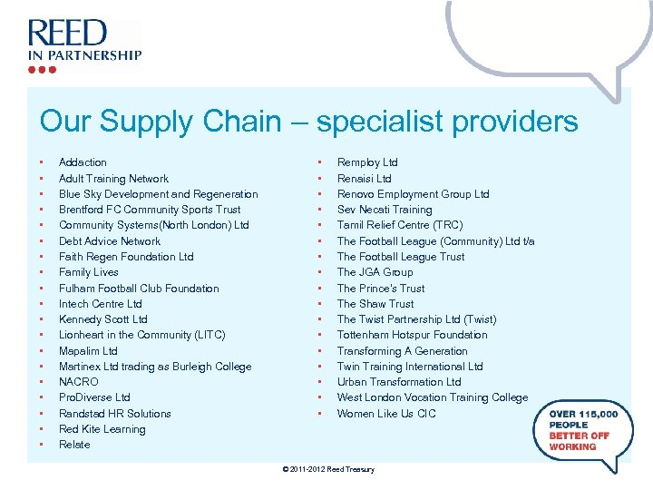 Our Supply Chain – specialist providers • • • • • Addaction Adult Training