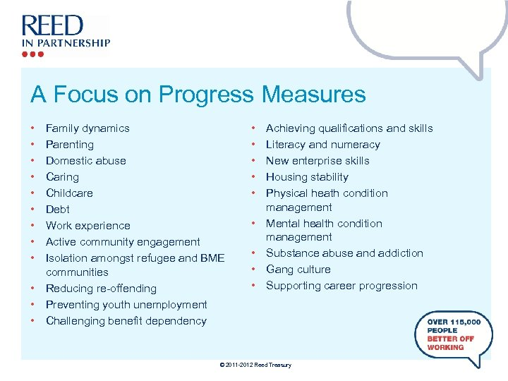 A Focus on Progress Measures • • • Family dynamics Parenting Domestic abuse Caring
