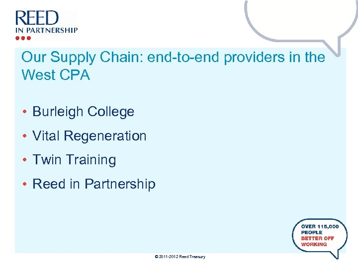 Our Supply Chain: end-to-end providers in the West CPA • Burleigh College • Vital