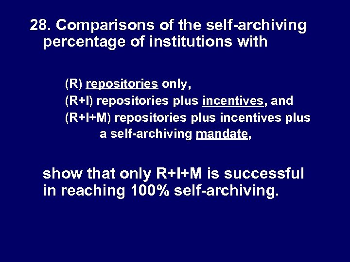 28. Comparisons of the self-archiving percentage of institutions with (R) repositories only, (R+I) repositories