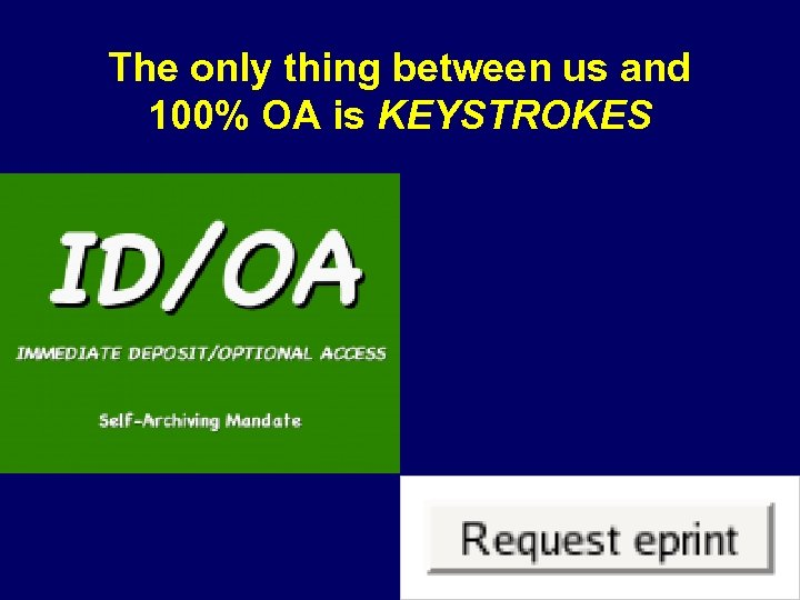 The only thing between us and 100% OA is KEYSTROKES