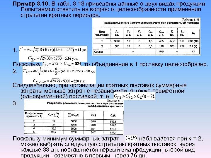 Пример 8. 10. В табл. 8. 18 приведены данные о двух видах продукции. Попытаемся