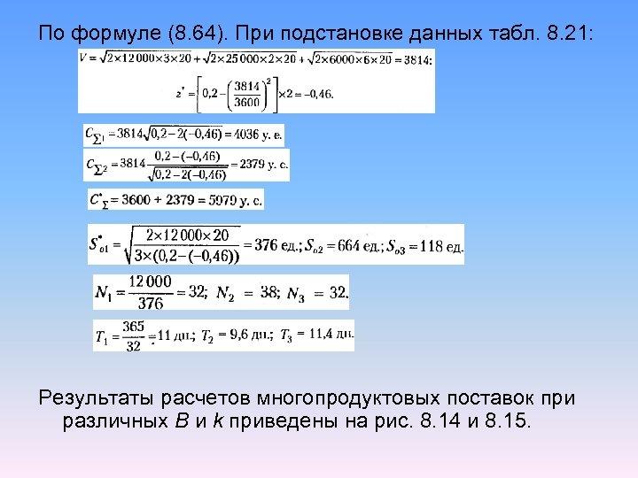 По формуле (8. 64). При подстановке данных табл. 8. 21: Результаты расчетов многопродуктовых поставок