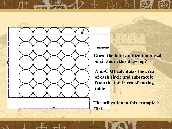 Guess the fabric utilization based on circles in this drawing? Auto. CAD calculates the
