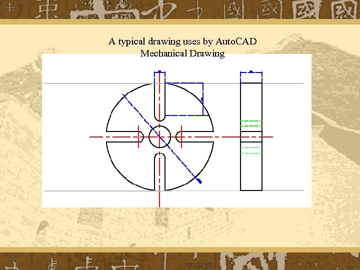 A typical drawing uses by Auto. CAD Mechanical Drawing