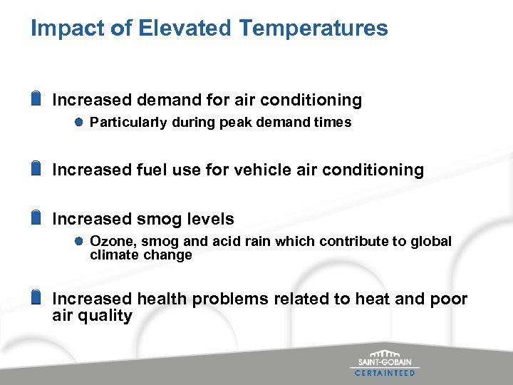 Impact of Elevated Temperatures Increased demand for air conditioning Particularly during peak demand times