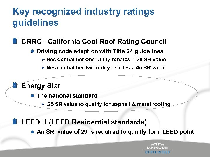 Key recognized industry ratings guidelines CRRC - California Cool Roof Rating Council Driving code