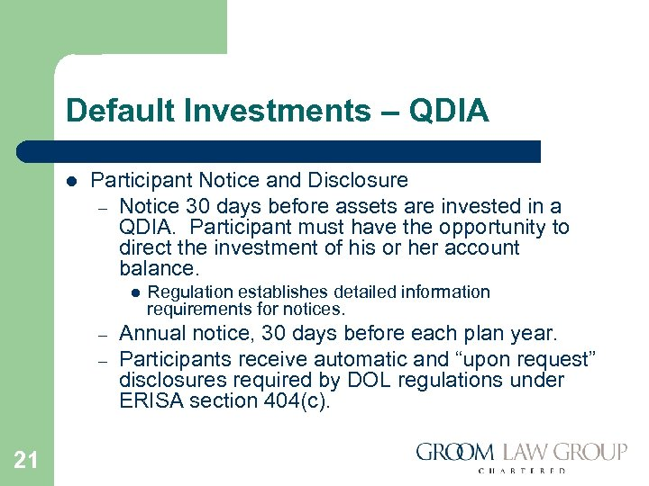 Default Investments – QDIA l Participant Notice and Disclosure – Notice 30 days before