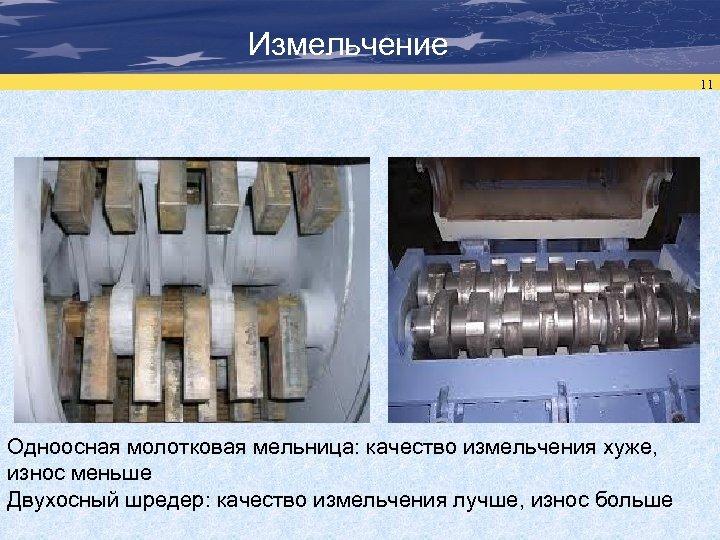 Измельчение 11 Одноосная молотковая мельница: качество измельчения хуже, износ меньше Двухосный шредер: качество измельчения