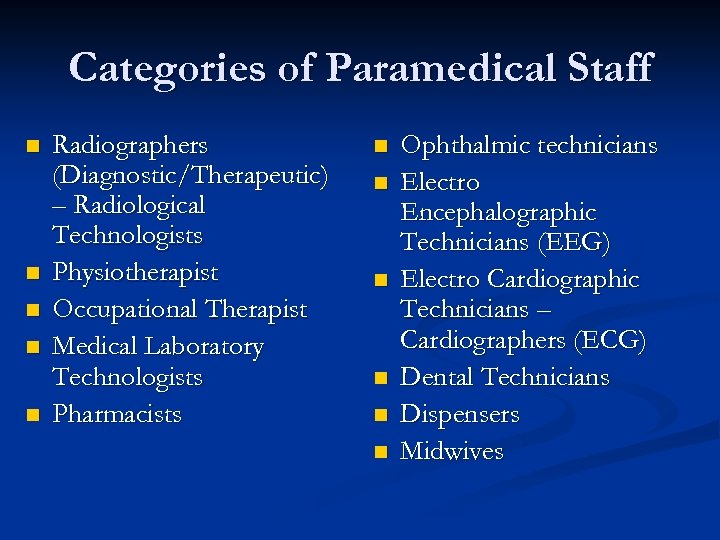Categories of Paramedical Staff n n n Radiographers (Diagnostic/Therapeutic) – Radiological Technologists Physiotherapist Occupational