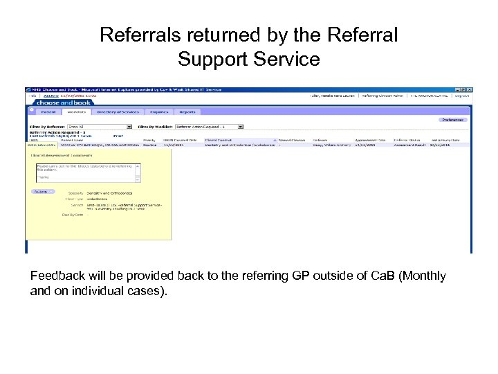 Referrals returned by the Referral Support Service Feedback will be provided back to the