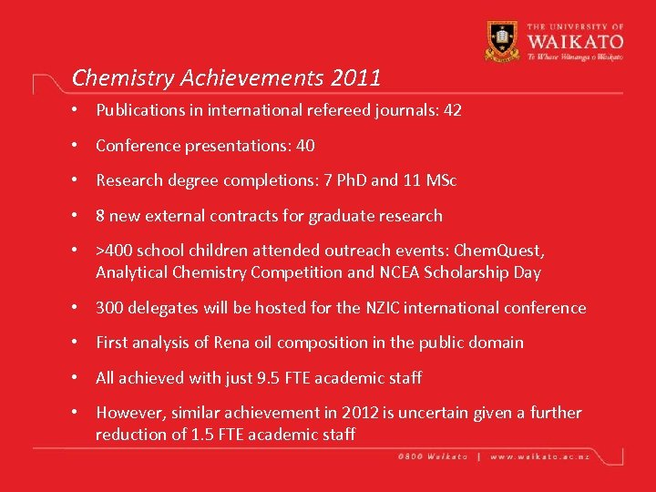 Chemistry Achievements 2011 • Publications in international refereed journals: 42 • Conference presentations: 40