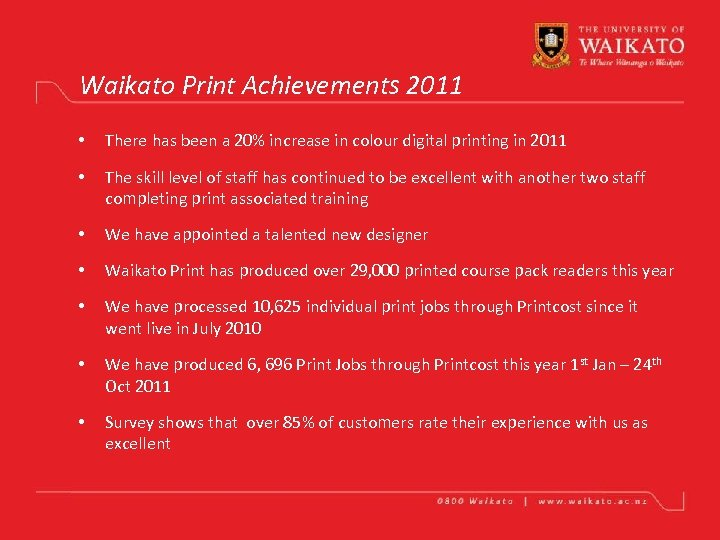 Waikato Print Achievements 2011 • There has been a 20% increase in colour digital