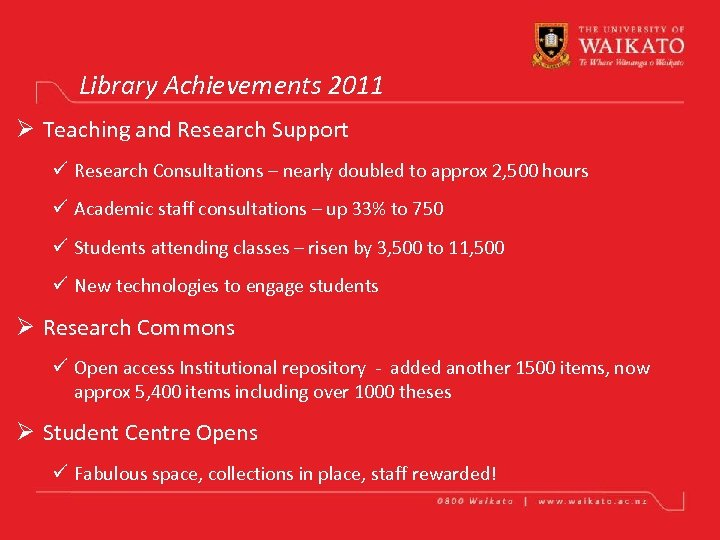 Library Achievements 2011 Ø Teaching and Research Support ü Research Consultations – nearly doubled