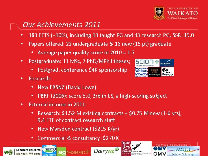 Our Achievements 2011 • 183 EFTS (+10%), including 13 taught PG and 43 research