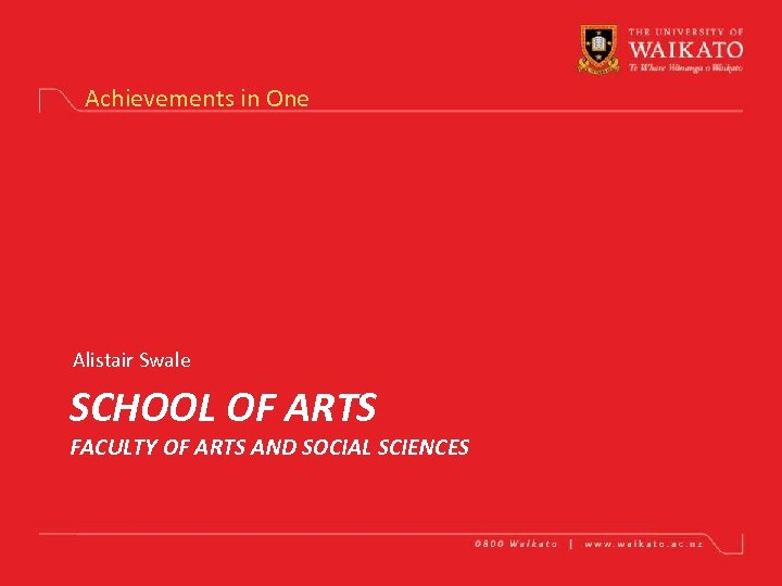 Achievements in One Alistair Swale SCHOOL OF ARTS FACULTY OF ARTS AND SOCIAL SCIENCES