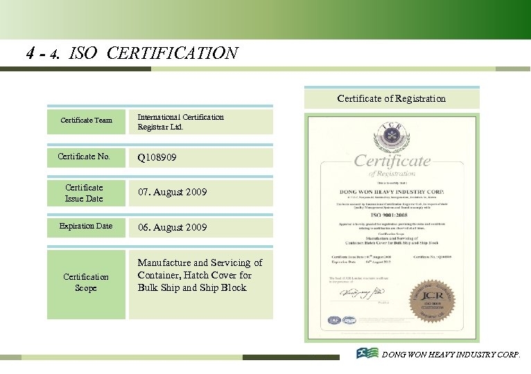 4 - 4. ISO CERTIFICATION Certificate of Registration Certificate Team Certificate No. International Certification