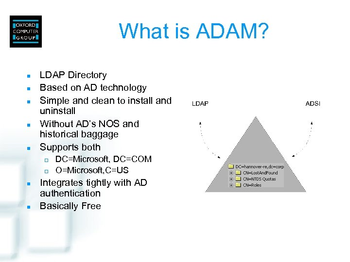 What is ADAM? n n n LDAP Directory Based on AD technology Simple and