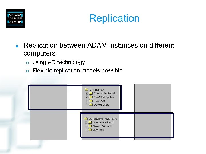 Replication n Replication between ADAM instances on different computers ¨ ¨ using AD technology