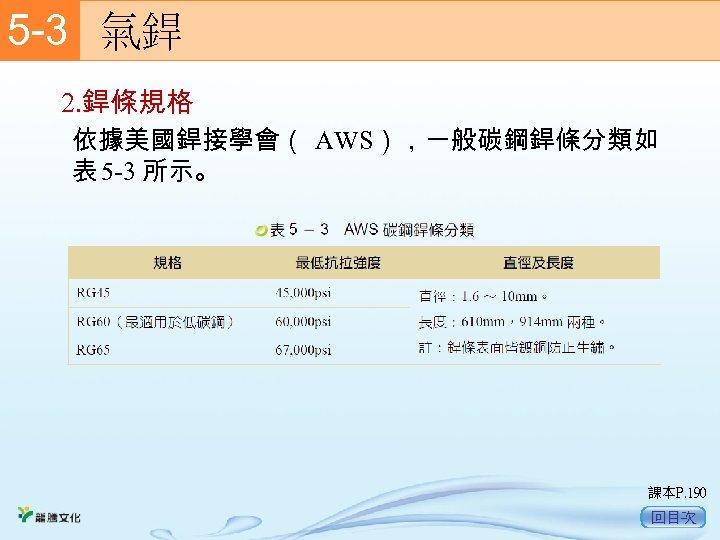 5 -3  氣銲 2. 銲條規格 依據美國銲接學會( AWS),一般碳鋼銲條分類如 表 5 -3 所示。 課本P. 190 回目次