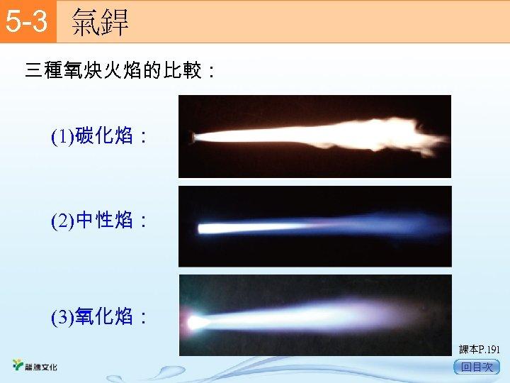 5 -3  氣銲 三種氧炔火焰的比較: (1)碳化焰: (2)中性焰: (3)氧化焰: 課本P. 191 回目次