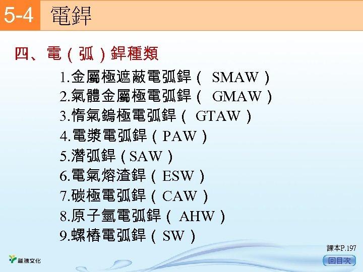 5 -4  電銲 四、電(弧)銲種類 1. 金屬極遮蔽電弧銲( SMAW) 2. 氣體金屬極電弧銲( GMAW) 3. 惰氣鎢極電弧銲( GTAW) 4.