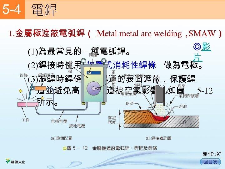 5 -4  電銲 1. 金屬極遮蔽電弧銲( Metal metal arc welding, SMAW) ◎影 (1)為最常見的一種電弧銲。 片 (2)銲接時使用