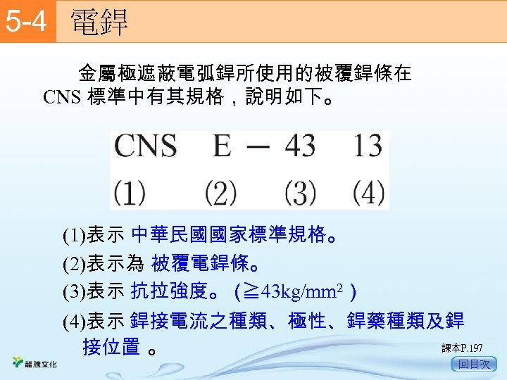 5 -4  電銲 金屬極遮蔽電弧銲所使用的被覆銲條在 CNS 標準中有其規格,說明如下。 (1)表示 中華民國國家標準規格。 (2)表示為 被覆電銲條。 (3)表示 抗拉強度。( ≧ 43