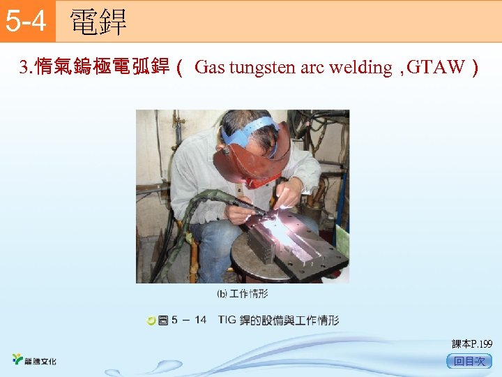 5 -4  電銲 3. 惰氣鎢極電弧銲( Gas tungsten arc welding, GTAW) 課本P. 199 回目次