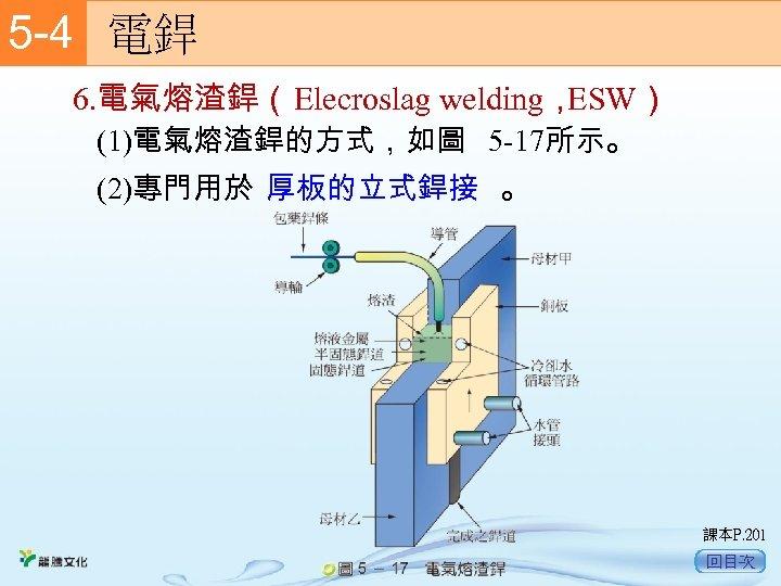 5 -4  電銲 6. 電氣熔渣銲(Elecroslag welding, ESW) (1)電氣熔渣銲的方式,如圖 5 -17所示。 (2)專門用於 厚板的立式銲接 。 課本P.